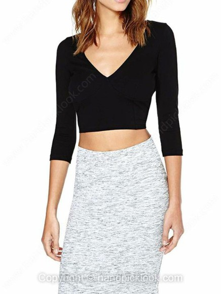 cropped top black crop tops three-quarter sleeves v-neck