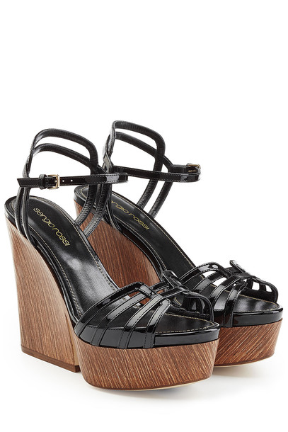 wedges leather black shoes