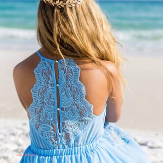 dress blue baby blue beach summer lace pretty back