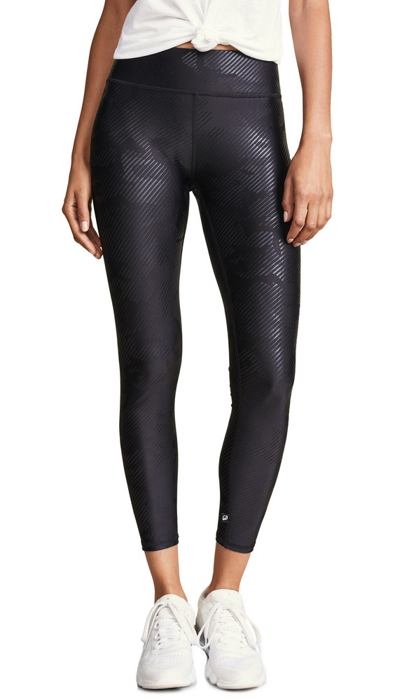 Terez Foil Printed Tall Band Leggings in black