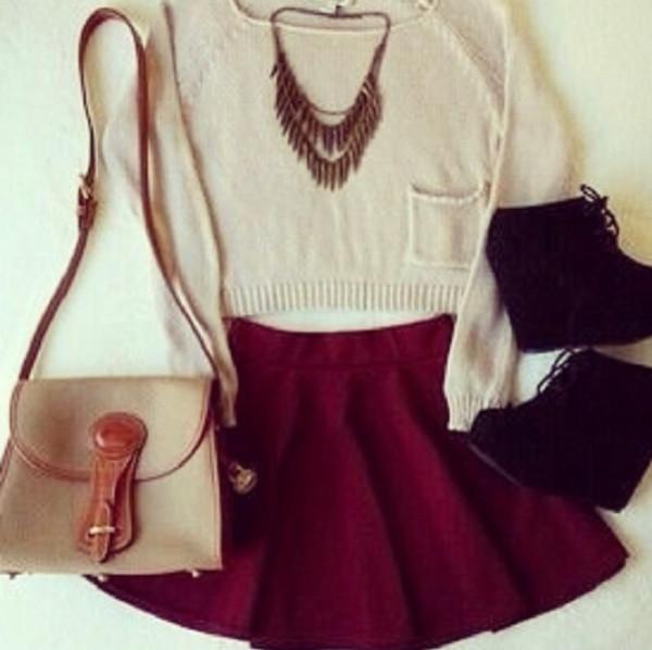 jewels skater skirt wedges sweater necklace skirt bag