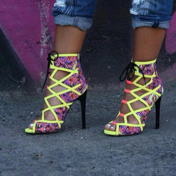 shoes high heels neon snake skin outgoing medium heels