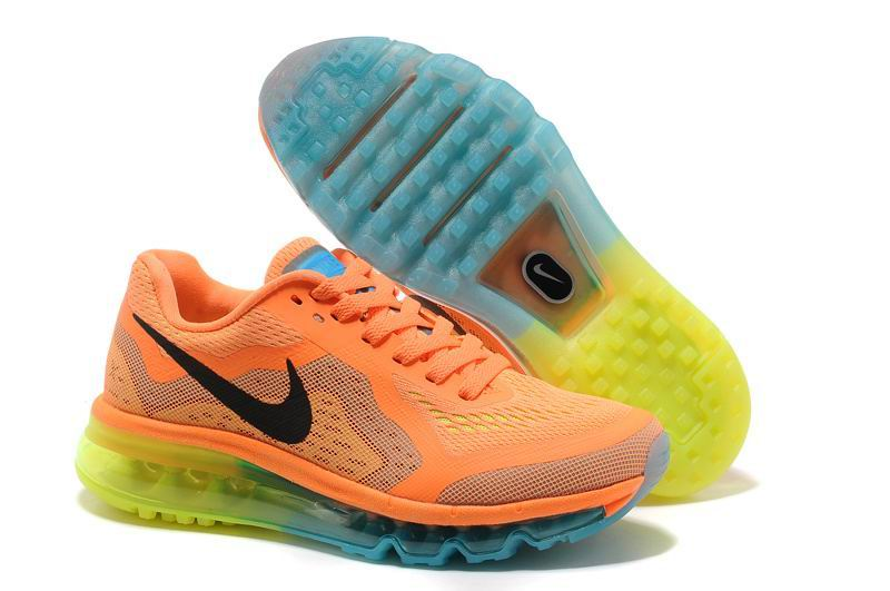 Nike Air Max 2014 Womens Shoes Atomic Orange Black Volt Gamma Blue 621078 804 TopDeals