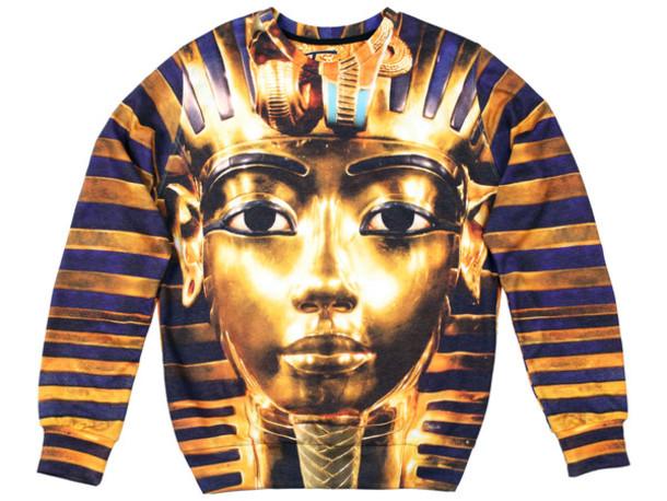 sweater printed sweater sweatshirt printed sweater pharaoh pharaon pharaoh sweater gold gold sweater jumper pullover winter sweater fall sweater