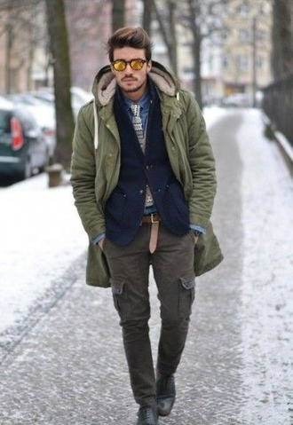 coat khaki mens coat mens parka army green