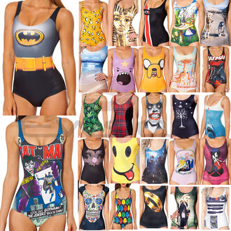 swimwear bikini one piece print pattern cartoon black yellow green blue pink white vintage girly sexy cosplay tumblr tumblr girl tumblr bikini dope instagram black milk cool skull adventure time marvel halloween batman maple leaf
