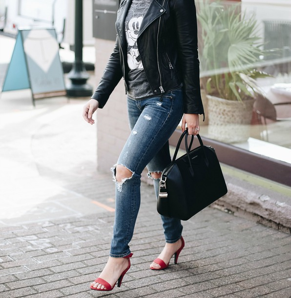 life & messy hair blogger jeans shoes t-shirt jacket bag sunglasses jewels mickey mouse black leather jacket sandals red heels high heel sandals handbag spring outfits