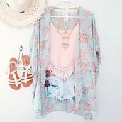 top,kimono,crop tops,shorts,sunglasses,hat,cardigan