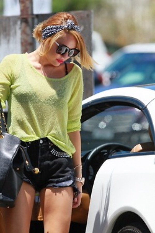 shorts denim cut offs studded miley cyrus style miley cyrus old style yellow black blouse