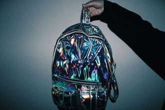 bag holographic cool acid grunge black holographic