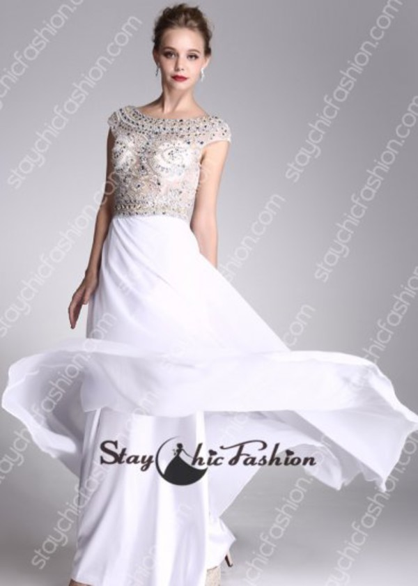 white long dress white prom gown white evening dress scoop neck beaded gown sheer top beaded dress rhinestone beaded white dress long
