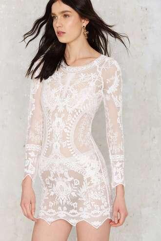 dress white lace dress white lace bodycon dress long sleeve dress