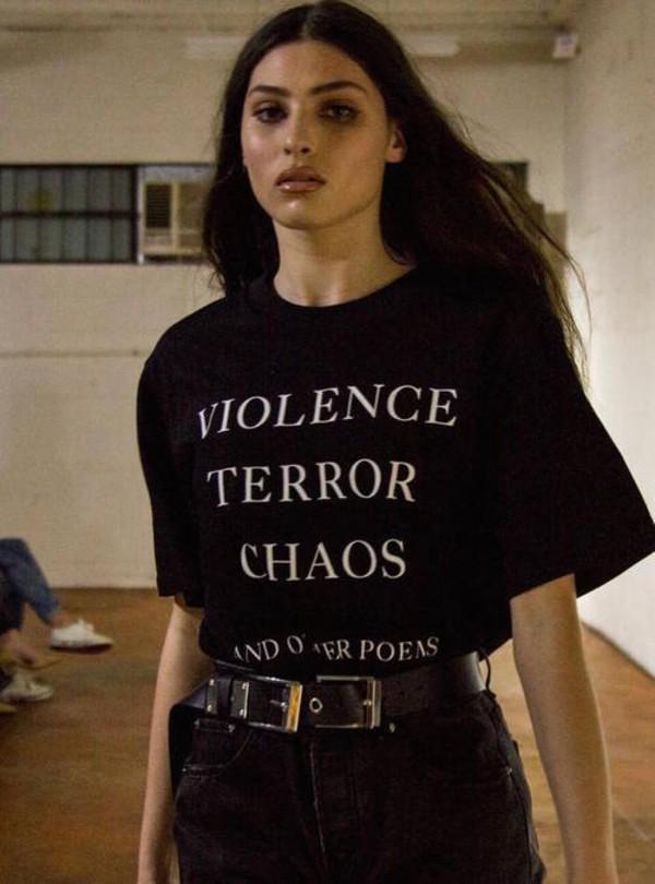 t-shirt violence grunge black terror shirt black shirt white art tumblr t-shirt fashion brunette model french outfit idea quote on it