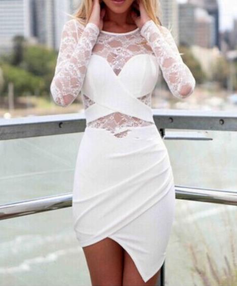 Cute lace fashion design show body dress