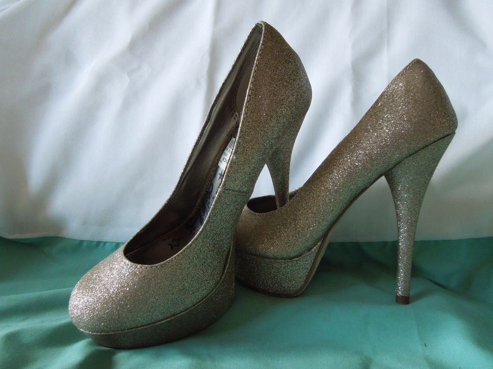 Brash Women Gold Metallic Glitter Sparkly Platform High Heels Shoes Pump Size 8W | eBay