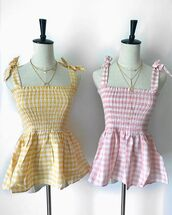 top,seven wonders the label,gingham,gingham top,pink gingham,yellow gingham,cute top,cotton,cotton top,elastic top,summer,summer top,summer outfits,boho,boho chic,boho fashion,checkered,checkered top