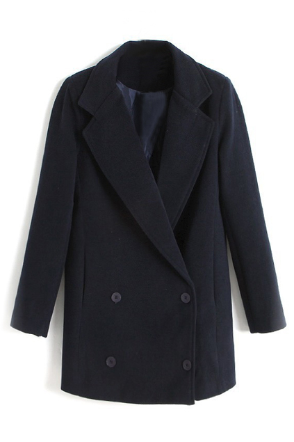 ROMWE | ROMWE Lapel Buttoned Loose Black Coat, The Latest Street Fashion