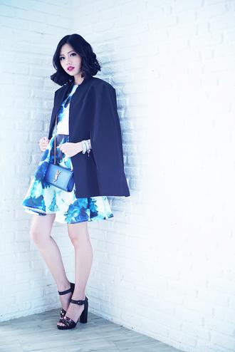 olivia lazuardy blogger floral dress blue cape sandals saint laurent dress jacket shoes bag jewels