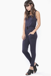 jumpsuit,navy,one piece,drawstring,soft,comfy