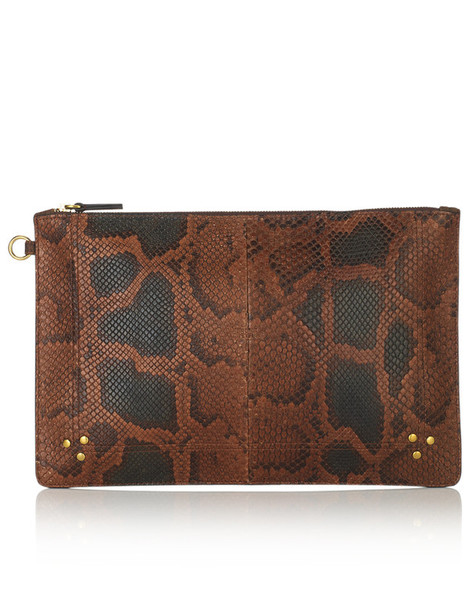 Jerome Dreyfuss python clutch brown