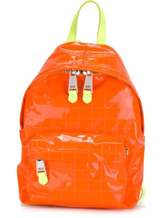 quilted backpack yellow orange bag