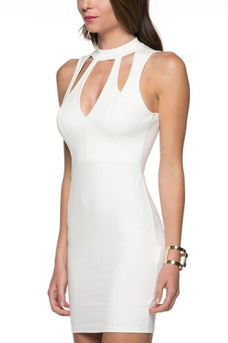 dress sleeveless cut-out mini bodycon halter neck open back sexy trendyish