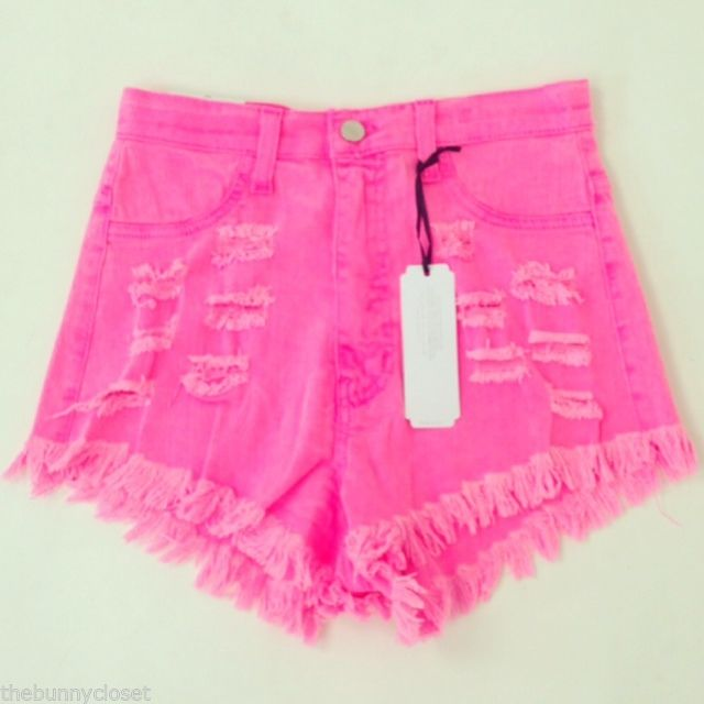 Waist Neon Pink Pixie Cut Off Distressed Colored Shorts NEW!