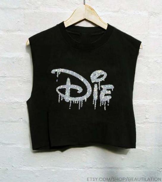 top disney die t-shirt rock black crop tops