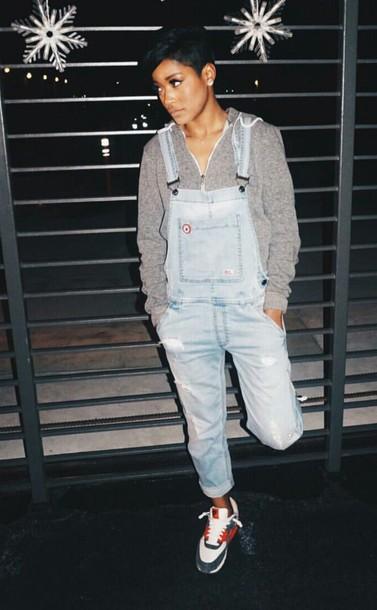 Jeans: jumpsuit, keke palmer, hoodie, buttons - Wheretoget