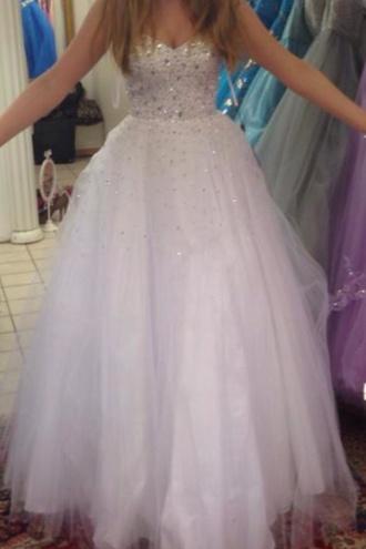 dress white white dress glitter dress glitter dimonds bitris long prom cinderella quinceanera dress homecoming dress homecoming prom dress