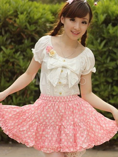Cute Polka Dot Pink Pleated Lolita Skirt  - Milanoo.com