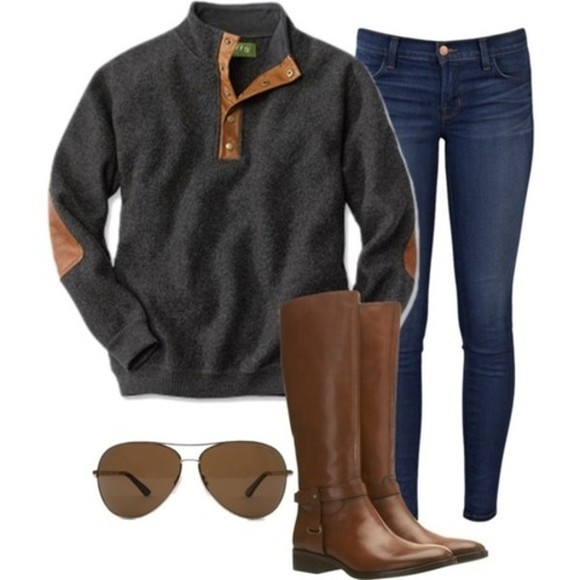 pullover elbow patch fall outfits preppy sweater boots jeans aviator sunglasses comfy casual shoes gray, leather, quarterzip, elbow exact one