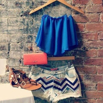 blouse herefind blue bag blue blouse shorts