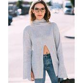 sweater,tumblr,bell sleeve sweater,bell sleeves,grey sweater,slit,slit top,turtleneck,turtleneck sweater,glasses,tortoise shell,denim,jeans,blue jeans