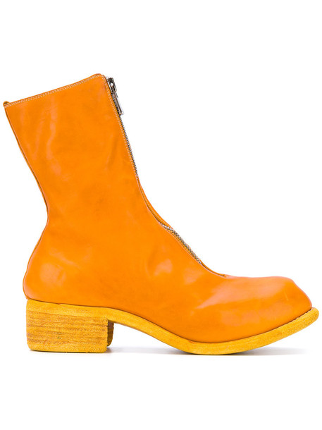 Guidi horse women leather yellow orange shoes