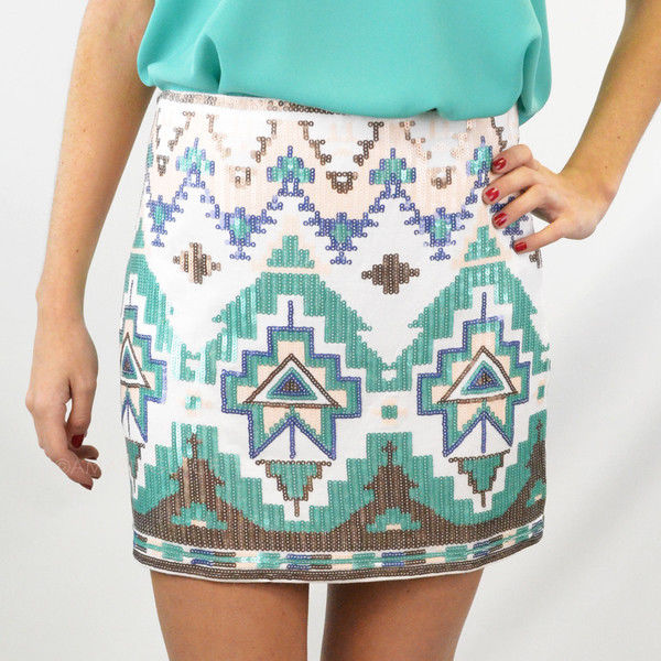 New Sexy Trendy Mint Green Ivory Aztec Tribal Sequin Lined Mini Skirt Med | eBay