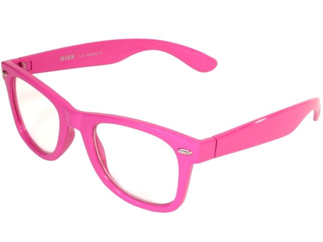 nerdy clear glasses wayfarer pink color frame