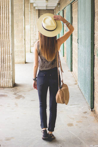 shoes and basics blogger top jeans bag shoes hat