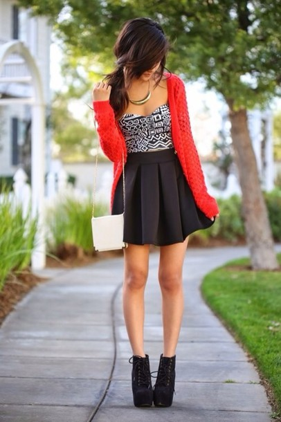Sweater Red Tank Top Shoes Black High Heels High