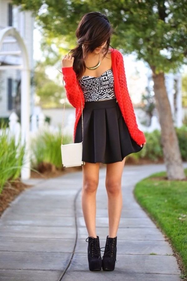 sweater red tank top shoes black high heels high heels skirt bag tribal pattern hair bun heels
