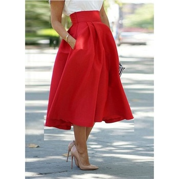 Women Satin Skirt Female Fashion Red Solid Pleated Midi Skirts ...