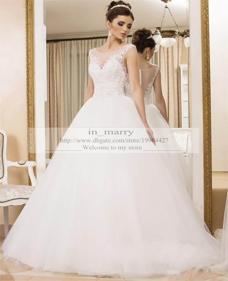 2016 princess ball gown wedding dresses illusion neckline for Plus size illusion wedding dress