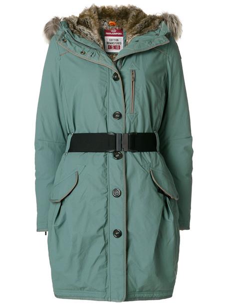 parajumpers parka fur women cotton green coat
