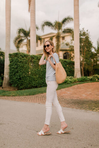 kelly in the city - a preppy chicago life style and fashion blog blogger shoes top jeans bag sunglasses slide shoes white pants
