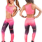 Women's sexy athletic ombre supplex top leggings set