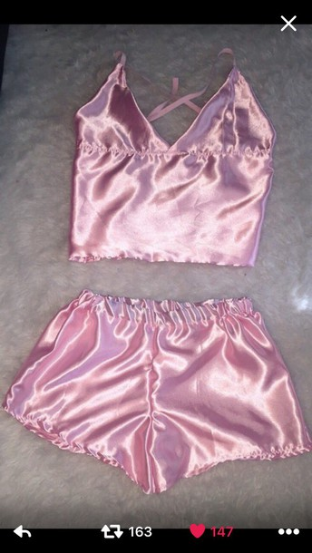 67bd132dda90 pajamas shorts silk pink pajamas pink satin cami top silk lingerie blouse  pink. underwear pink
