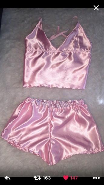 88655a3f1cea pajamas shorts silk pink pajamas pink satin cami top silk lingerie blouse  pink. underwear pink
