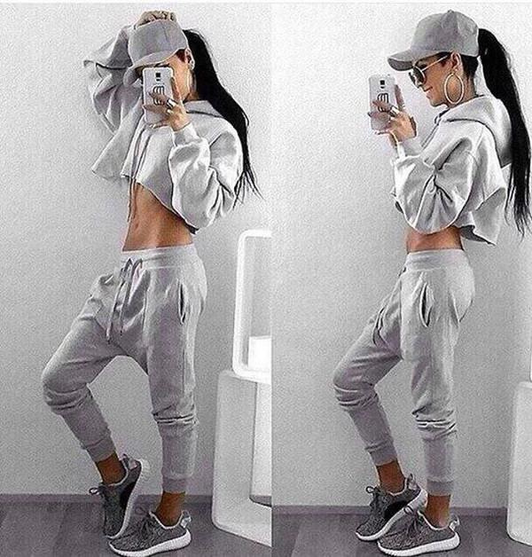 Cropped Sweatshirt Pants Set u2013 Outfit Made