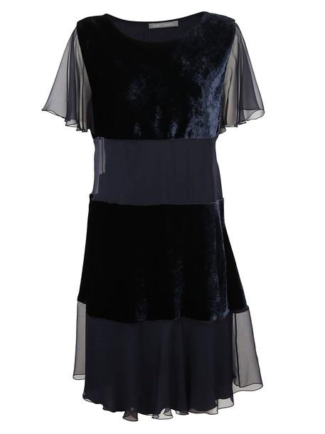 Alberta Ferretti dress layered navy