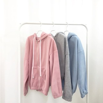 sweater pastel fleece pink grey blue zip-up long sleeves
